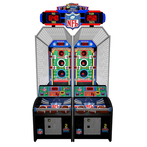 2-Minute Drill   Test your football throwing skills on this interactive playfield!  An eye-catching display, and overall colorful attributes really encourage people to play such an intriguing redemption game.  Dimensions: 120H x 36W x 106D