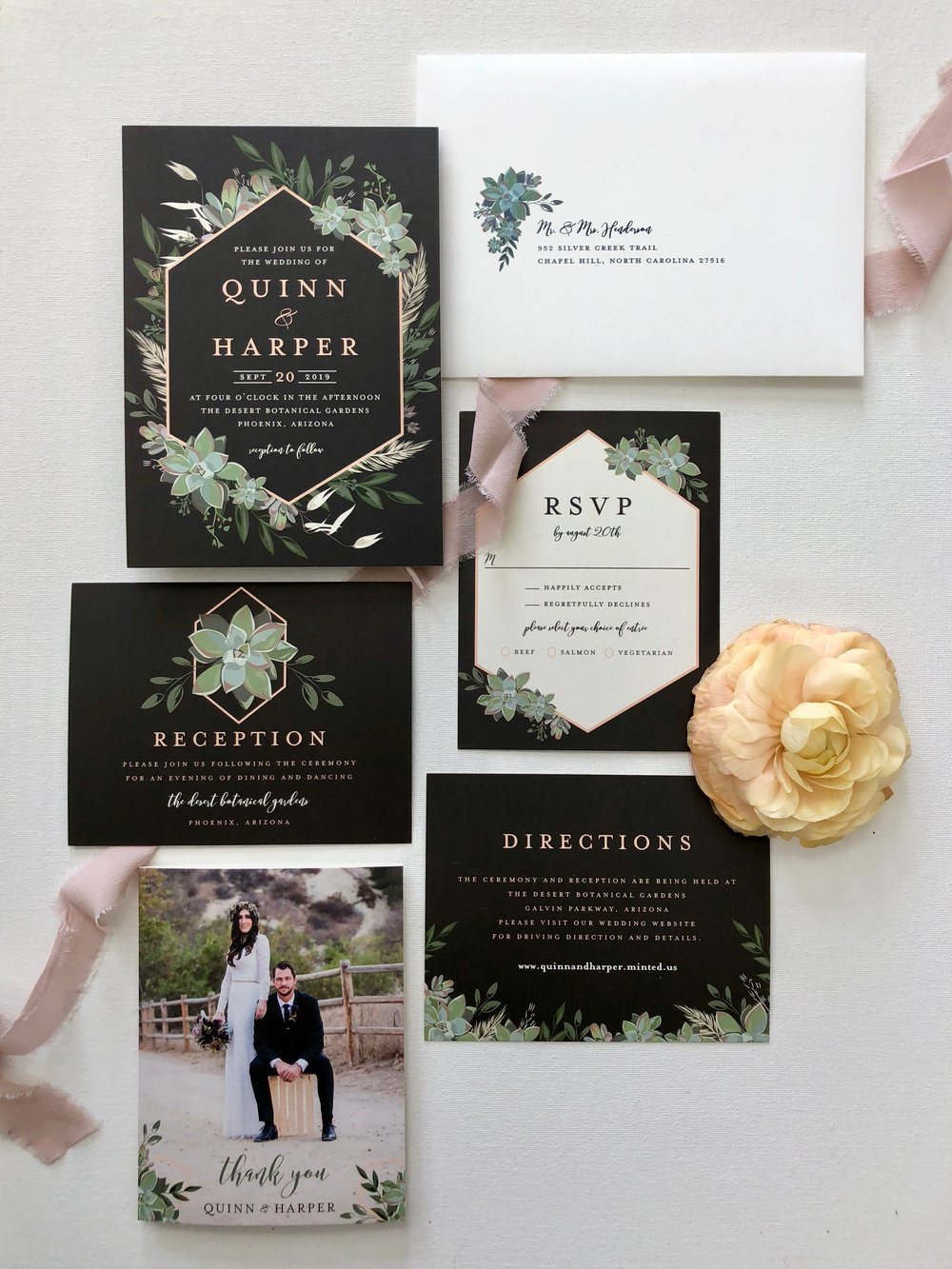 Stationery | Minted  Ribbon | Tono & Co.  Florals | Oak & the Owl  Workshop | LVL Academy  Styling & Photography | To Be Loved Events