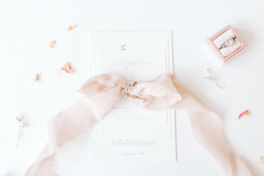 Stationery   Andrea Haughey Design  Photography   Karlee Steingrobe Photography  Planning & Styling   To Be Loved Events  Ribbon   Tono & co.