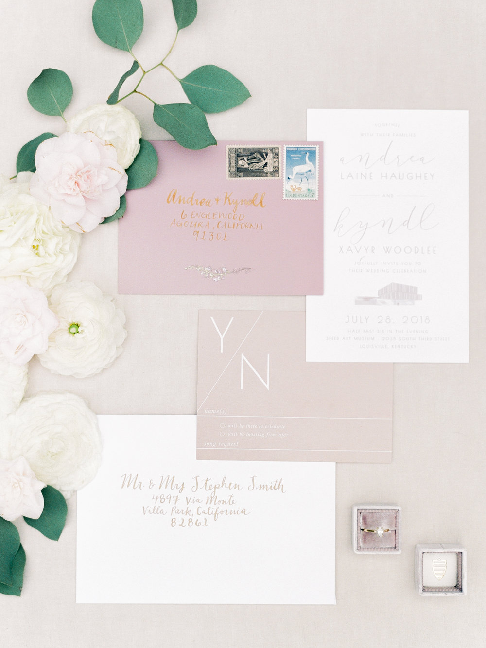 Stationery   Andrea Haughey Design  Photography   Ava Maria Photography  Ring Box   The Mrs. Box  Florals   Flowers & Thyme  Planning & Styling   To Be Loved Events