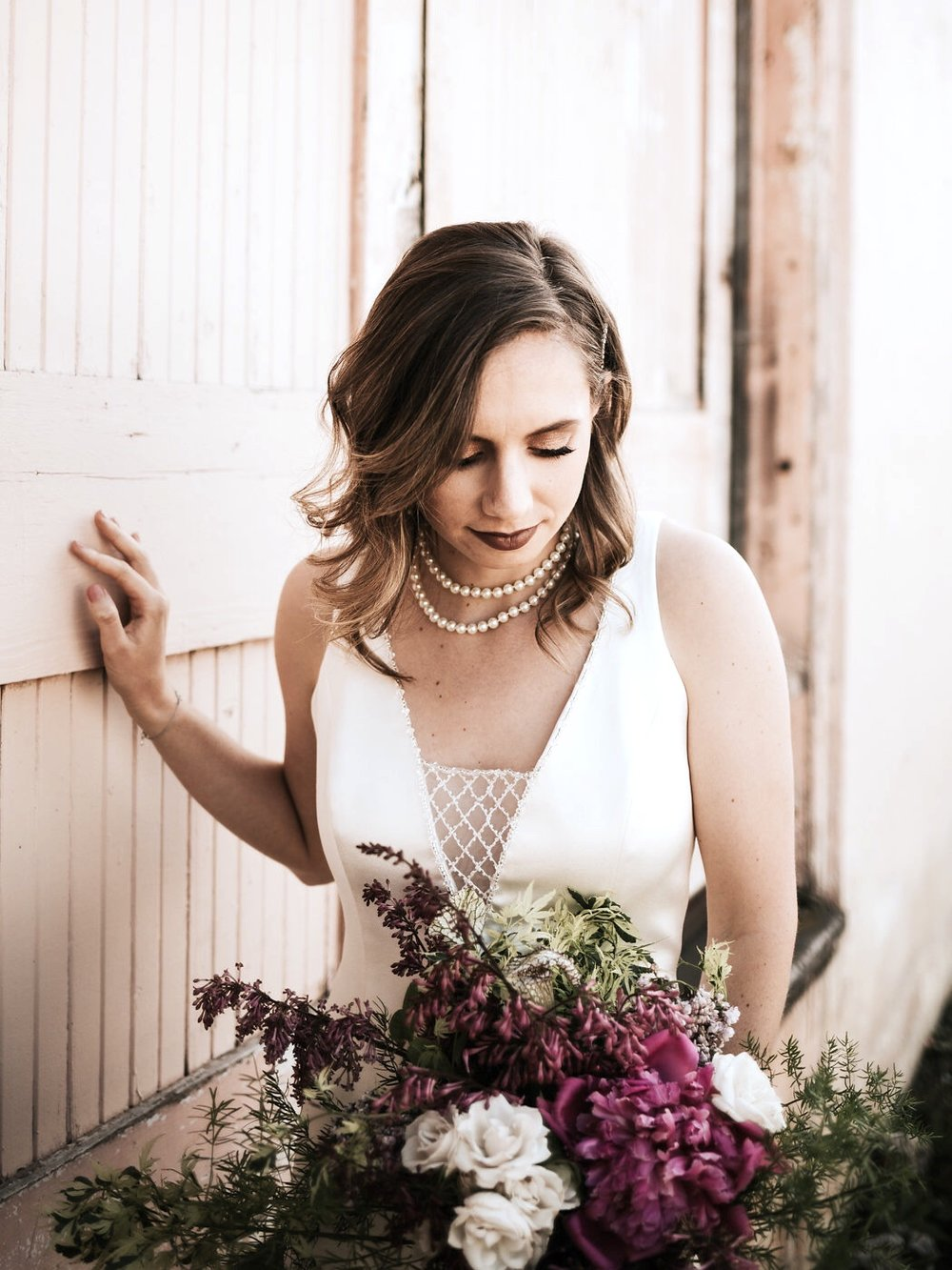 Photography by  Sarah Olivia Photo , Floral Design by  Poppies and Paisley Floral , Model Carrissa Pahl, Bridal Shop  Bespoke Bride , Dress Designer  Grace Mariee Original , Make-Up by  Katarina Tiley MUA , Hair by  Cheri Domenigoni