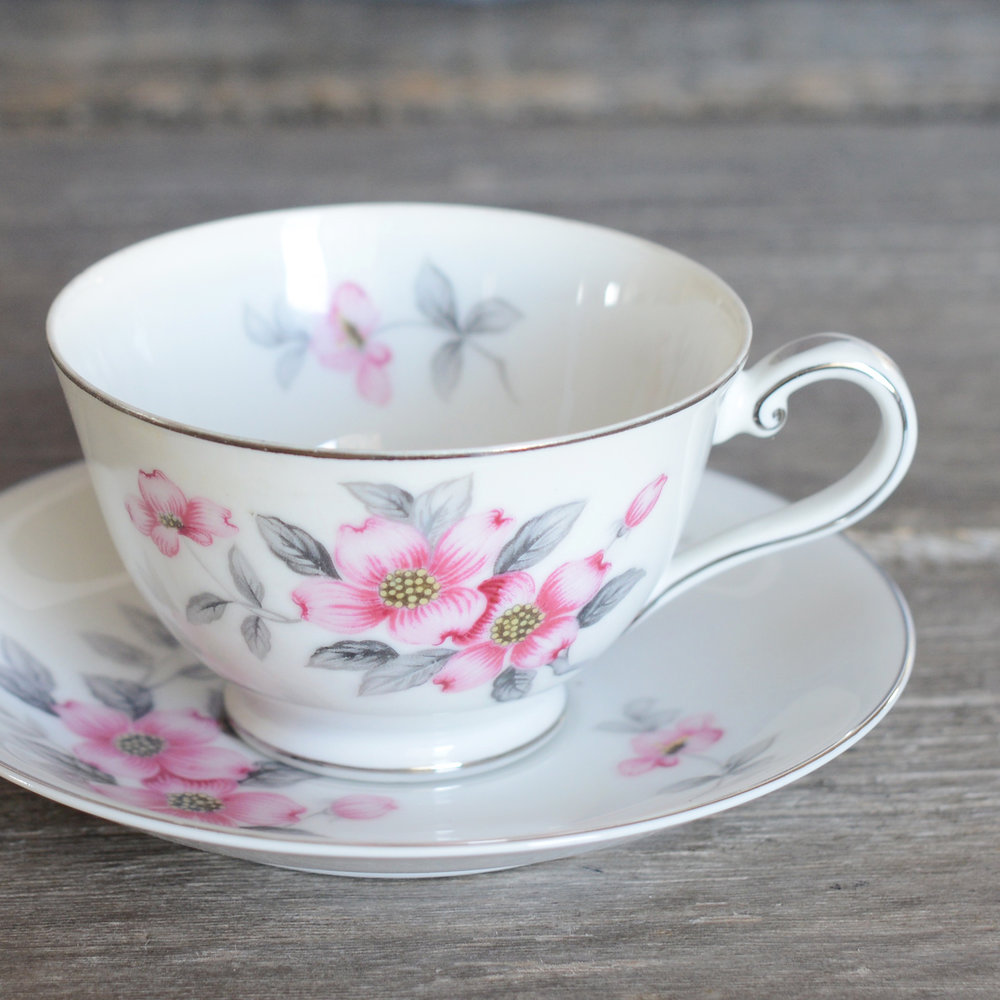 dogwood tea cup and saucer