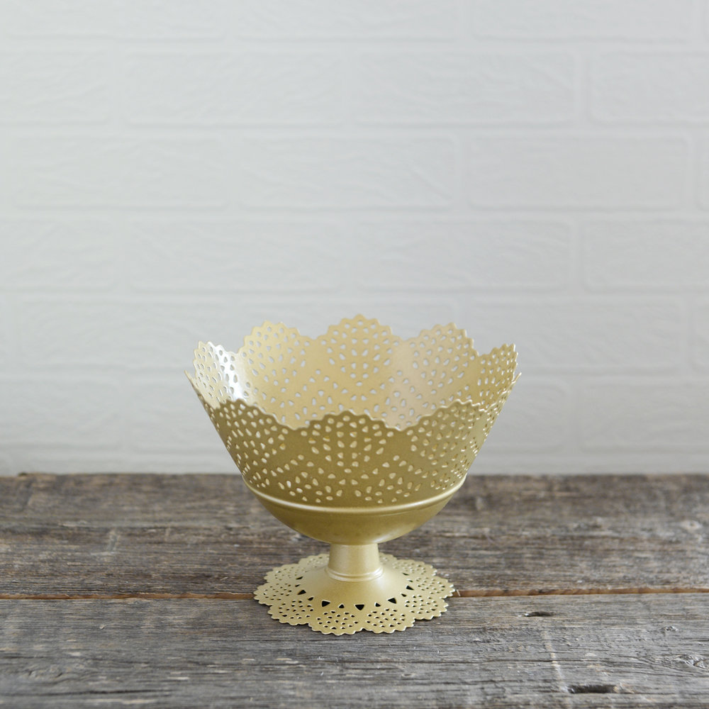 "lace bowl - gold - 7"" x 5"" - 4 available"