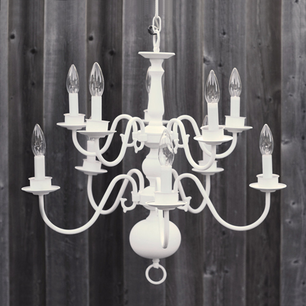 "10 bulb white chandelier - 24""w x 18""h"