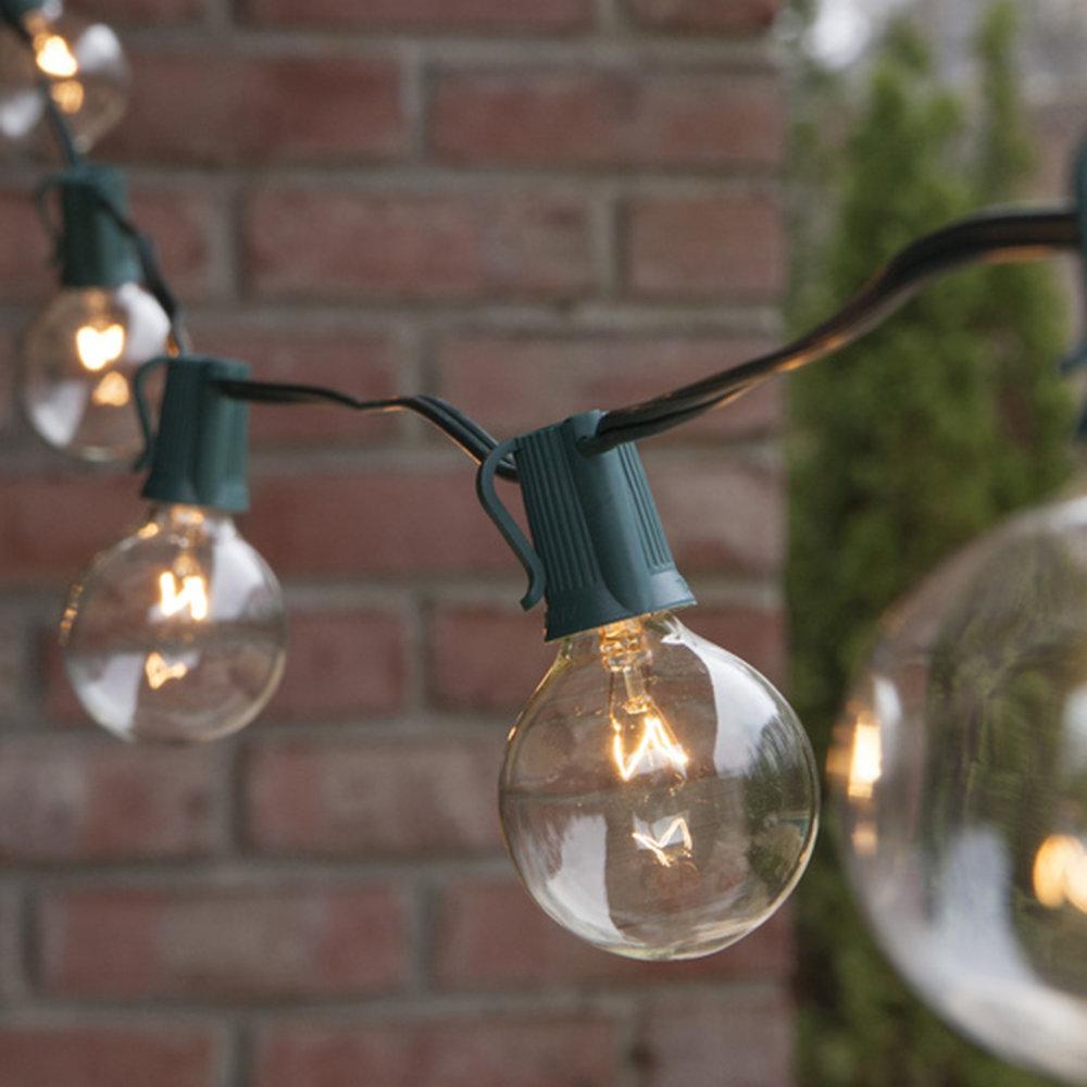 25' green corded globe lights - 8 sets