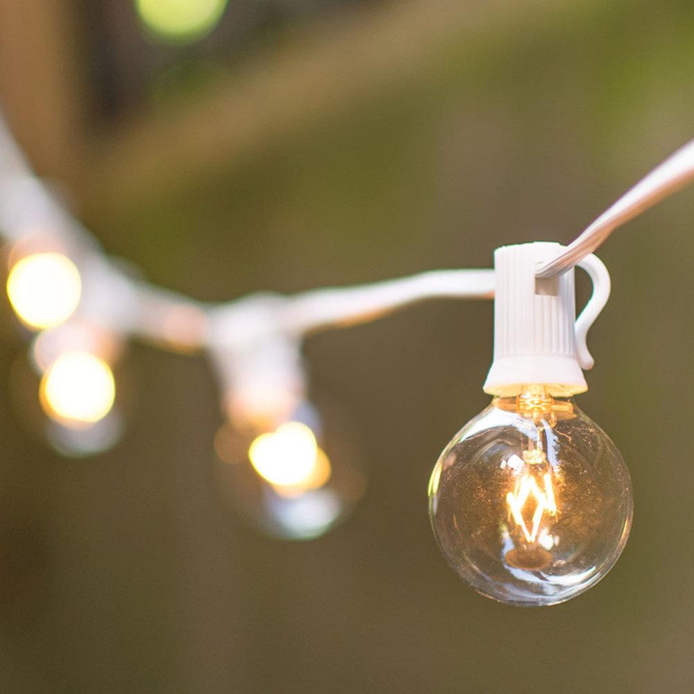 50' white corded globe lights - 4 sets