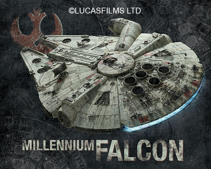 MillenNium Falcon - Design I created for San Diego Comic-Con 2017 during my time at Artissimo Designs LLC. Ship and line art assets provided by licensor. The final product was available to be purchased framed.©Lucasfilms LTD.