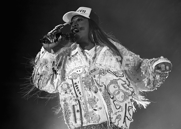 LOS ANGELES, CA - JULY 21: (EDITORS NOTE: Image was converted to black and white.) Missy Elliott performs onstage during day 1 of FYF Fest 2017 on July 21, 2017 at Exposition Park in Los Angeles, California. (Photo by Emma McIntyre/Getty Images for FYF)