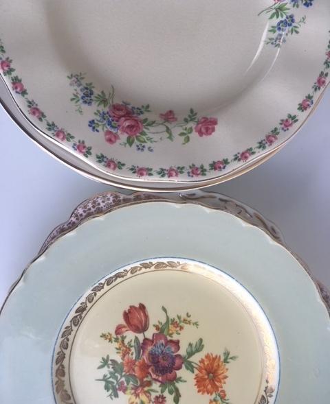Mismatched Vintage Dinner Plates
