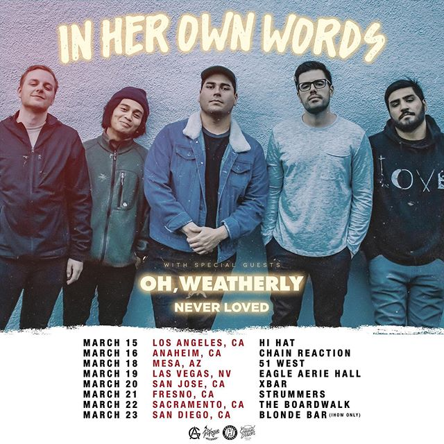 WEST COAST! ⚡️⚡️ Lets get it.  Excited to share the stage with @ihowband and @ohweatherly — anywhere else we should be this spring?? • • • • • • #inherownwords #ohweatherly #equalvision #hopeless #invogue #sequelmusicgroup #arteryglobal #poppunk #rock  #tour #spring