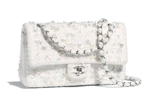 Chanel - Sac tweed blanc