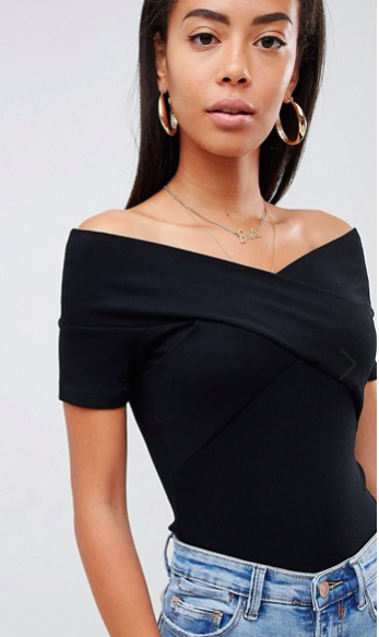 ASOS - open shoulder black top