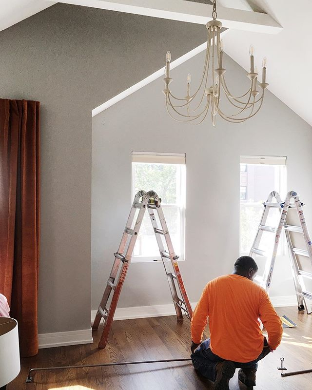 Huge thanks to our friend Auburn at @123assembly for always coming through for us and our clients! 🙌🏽 He swapped out a builder-grade ceiling fan for this lovely chandelier and also installed the drapery in this client's nursery.