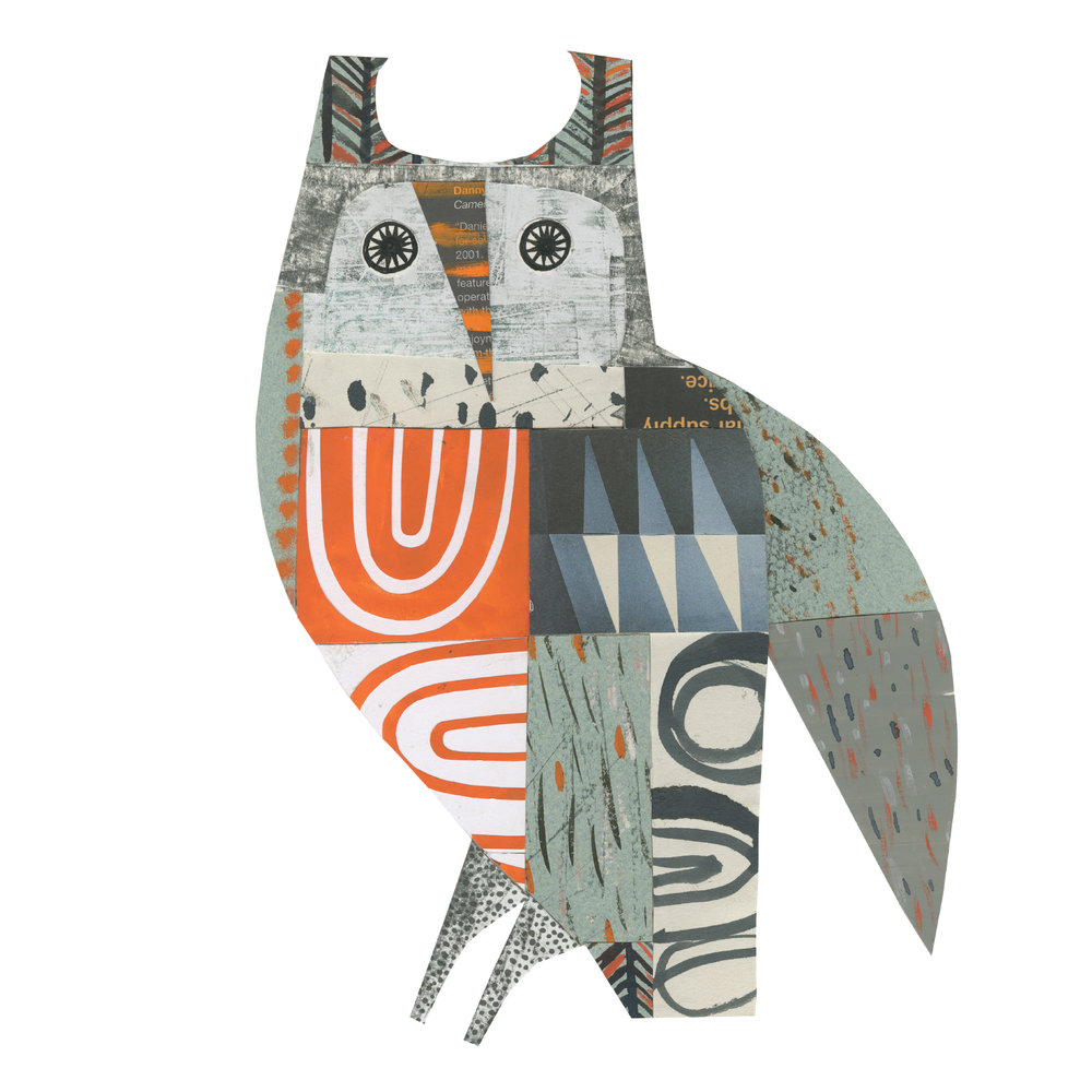 long eared owl     SHOP    mixed media collage, available as a giclee print