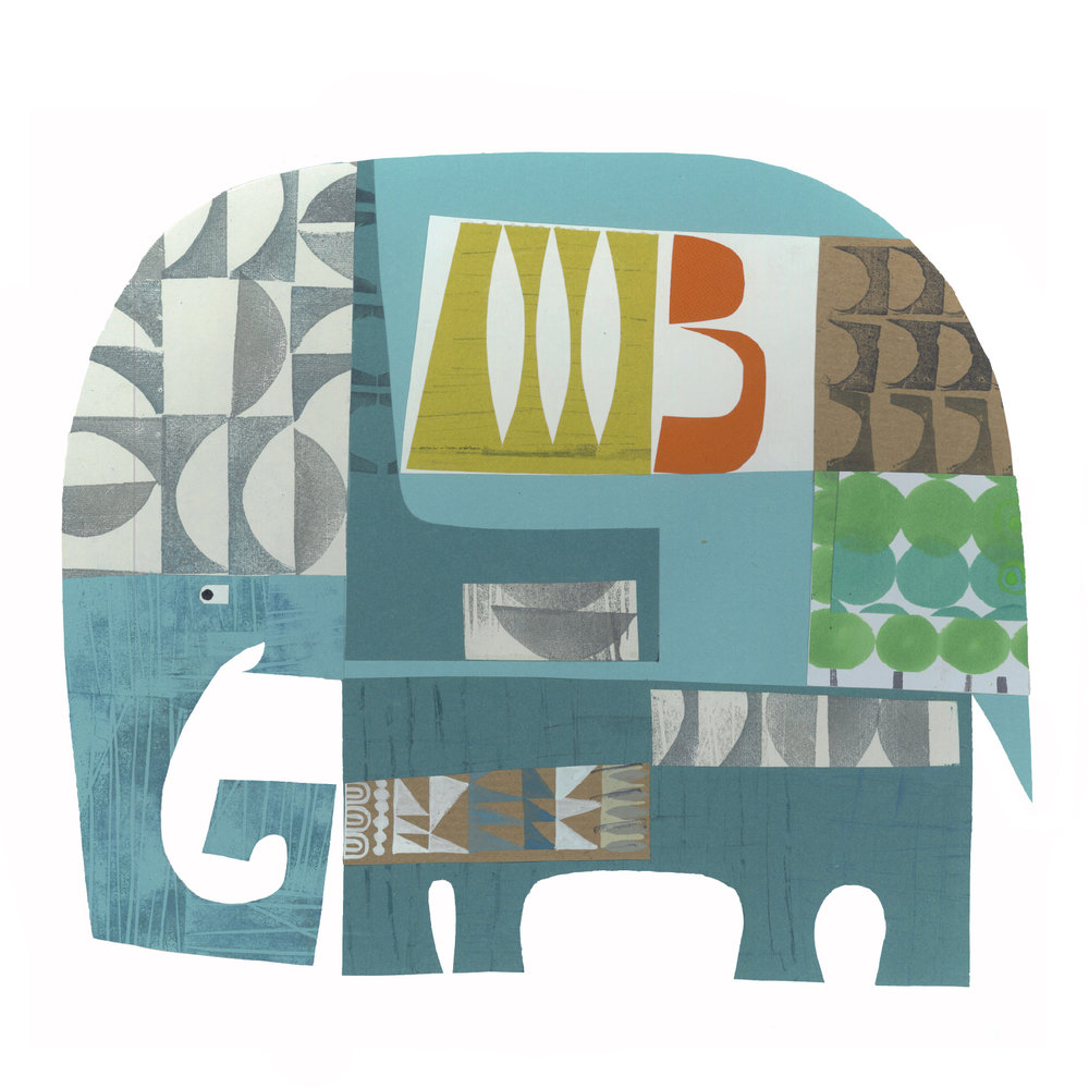 noble elephant     SHOP    mixed media collage, available as a giclee print