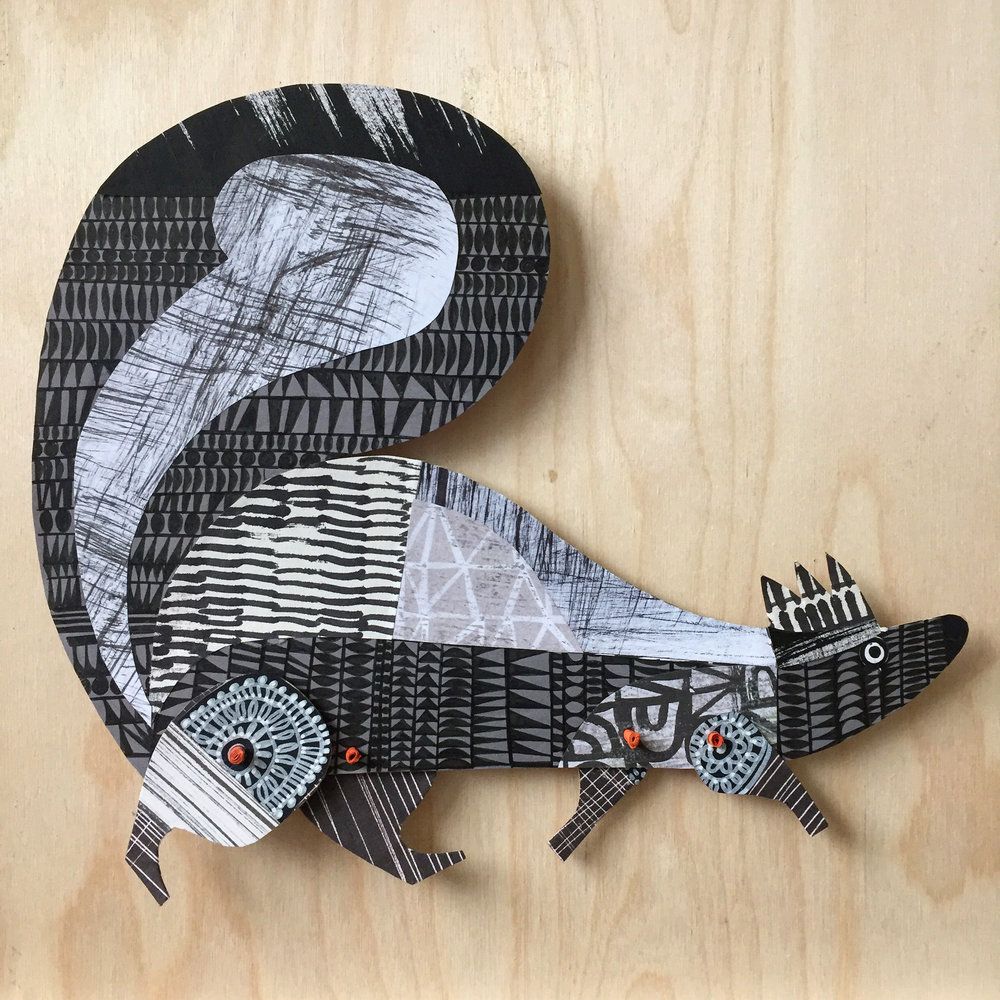 skunk    original articulated collage. commissions taken