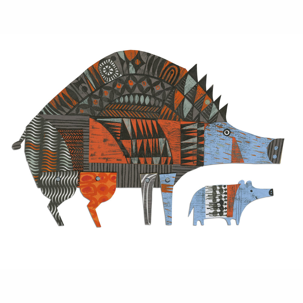 wild boar and baby   from forthcoming  animal parade  book