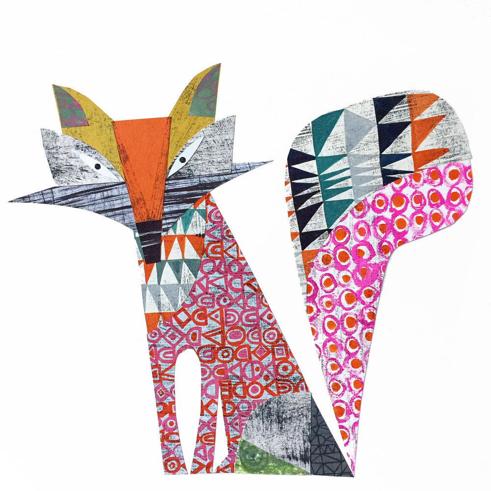 cunning fox      original collage