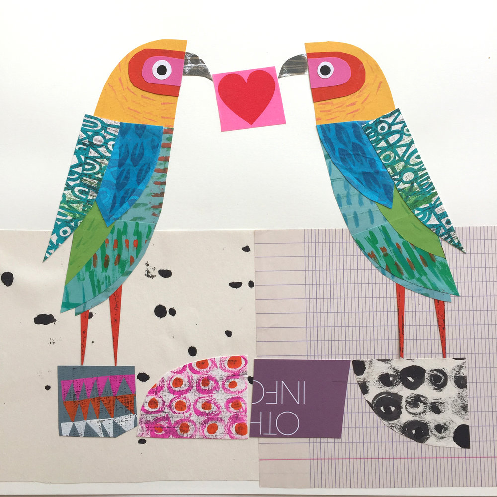 love birds   original collage