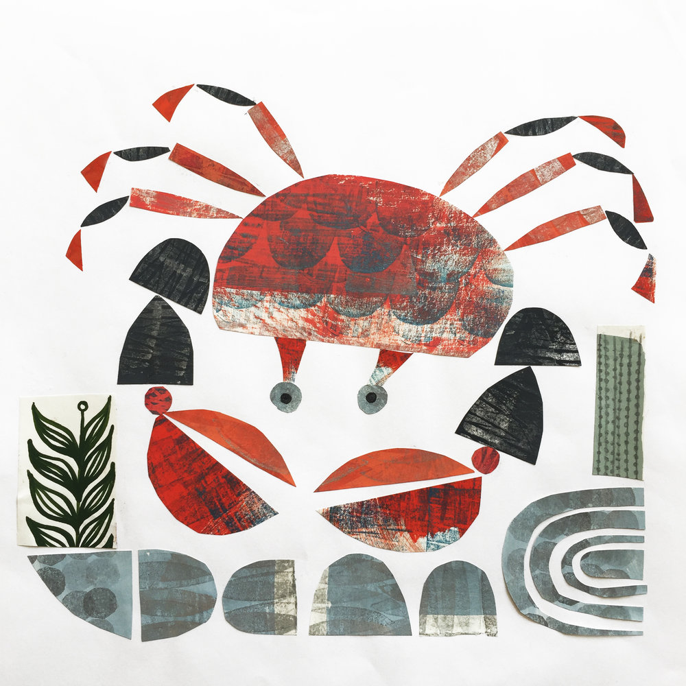 rockpool crab   original collage