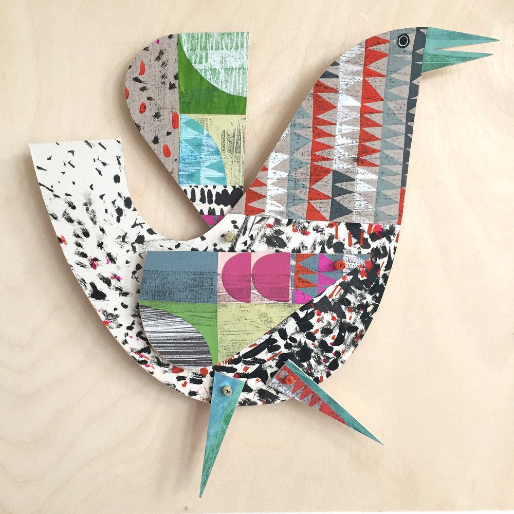 singing bird       original cut out articulated collage