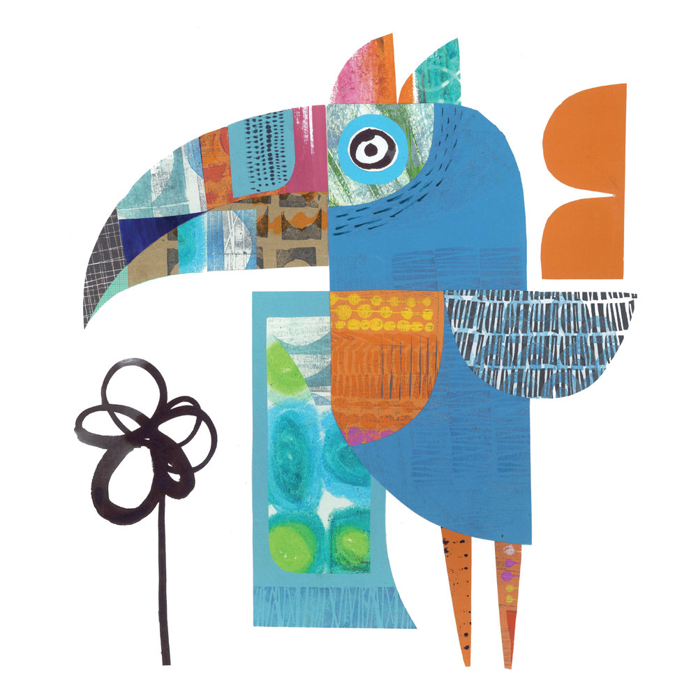 toucan       SHOP    mixed media collage, available as a giclee print