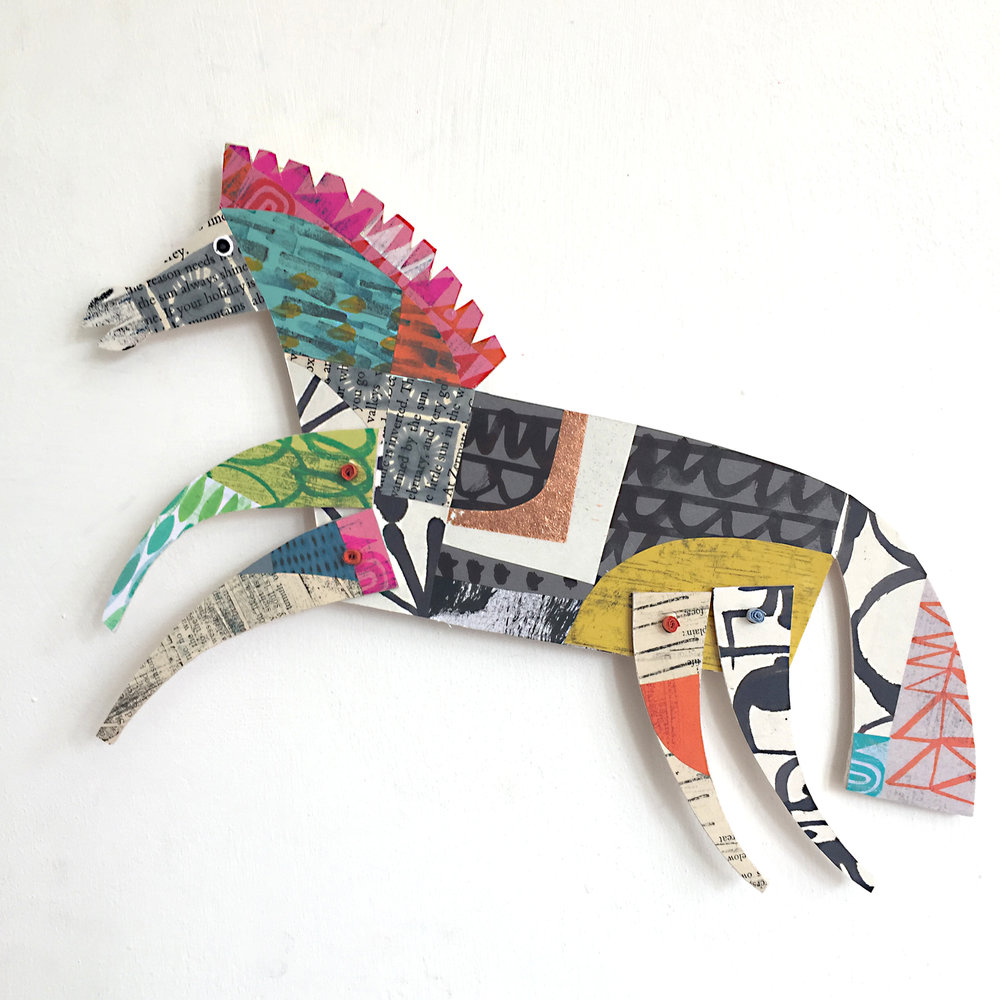 articulated horse    original cut out articulated collage