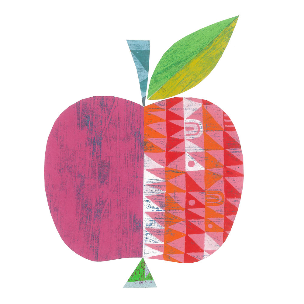 an apple a day    SHOP    mixed media collage, available as a giclee print