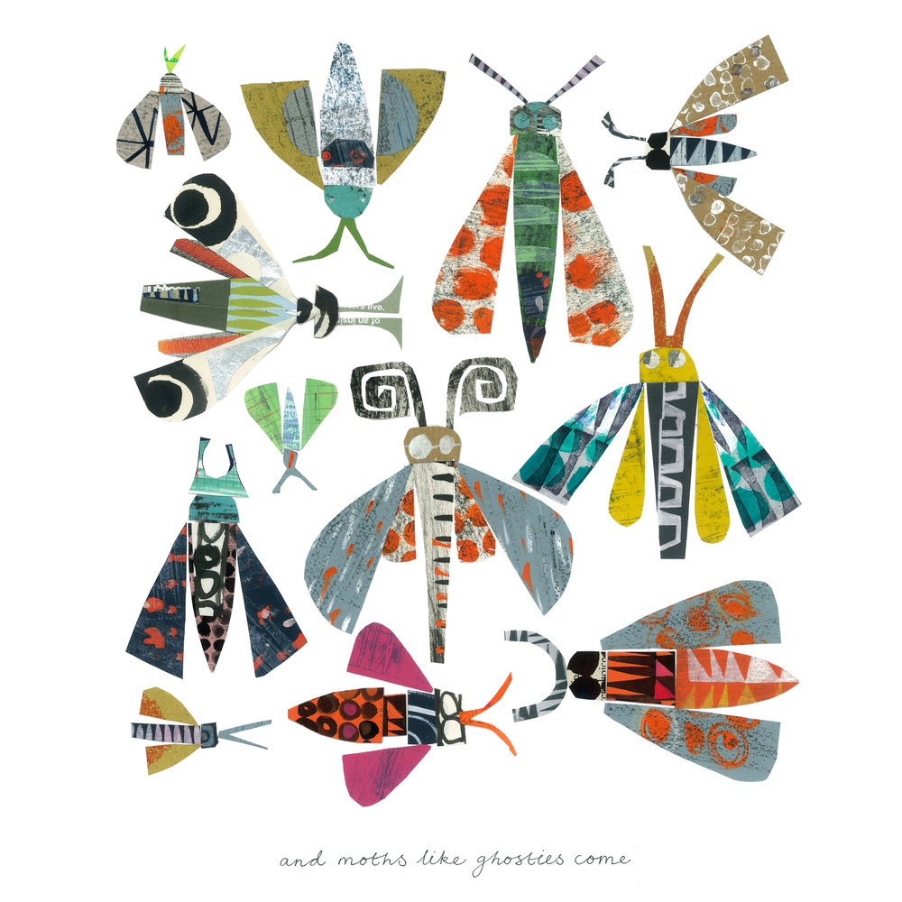 ghost moths   SHOP    mixed media collage, available as a giclee print