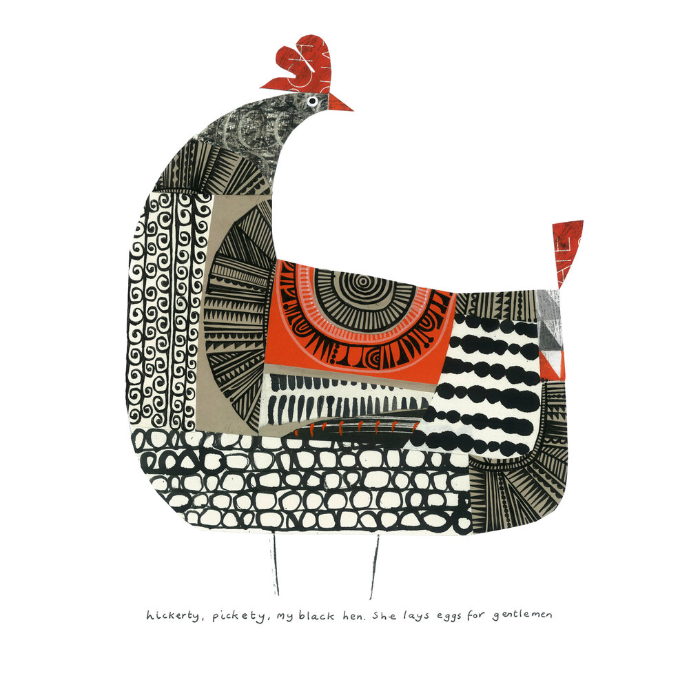 black hen   SHOP    mixed media collage, available as a giclee print
