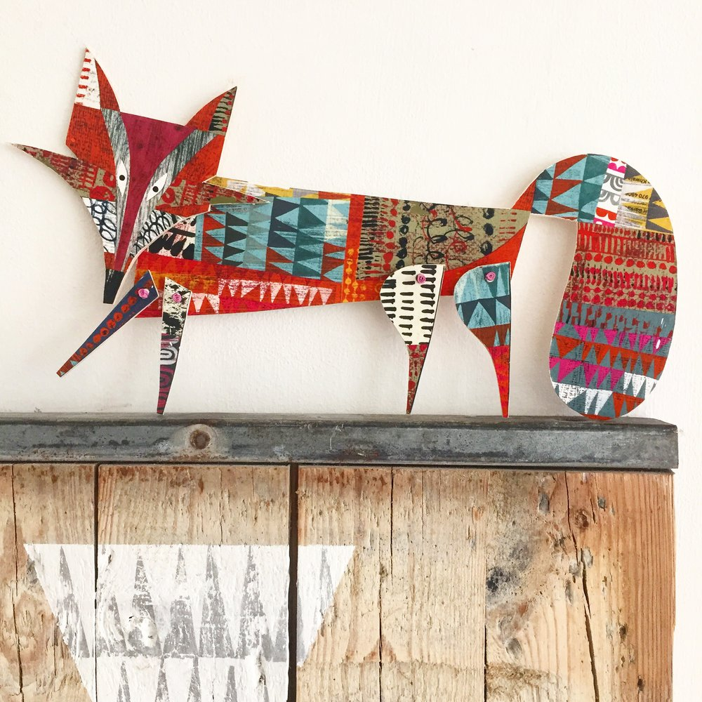 articulated artful fox      original cut out articulated collage