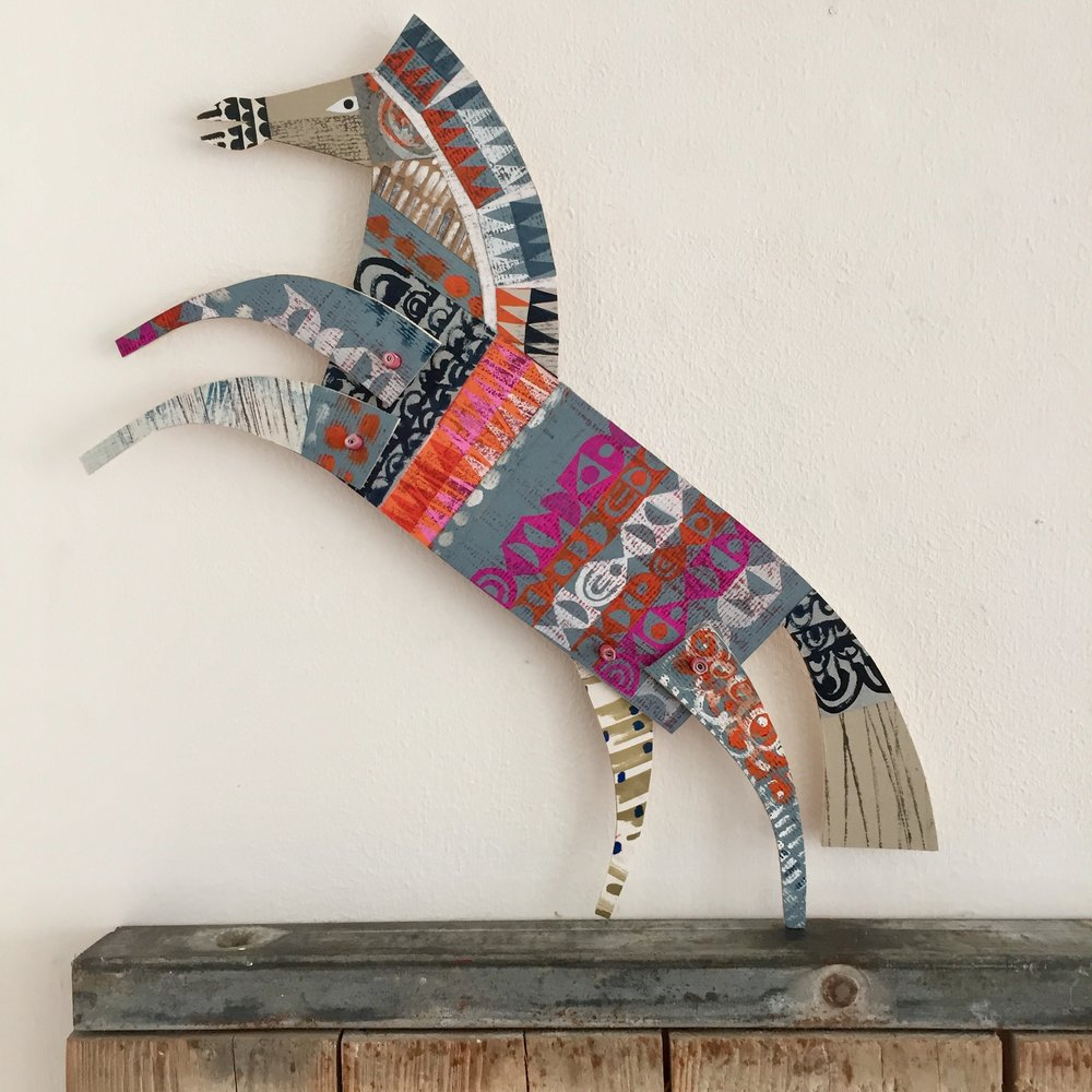 articulated leaping horse    SHOP    original cut out articulated collage