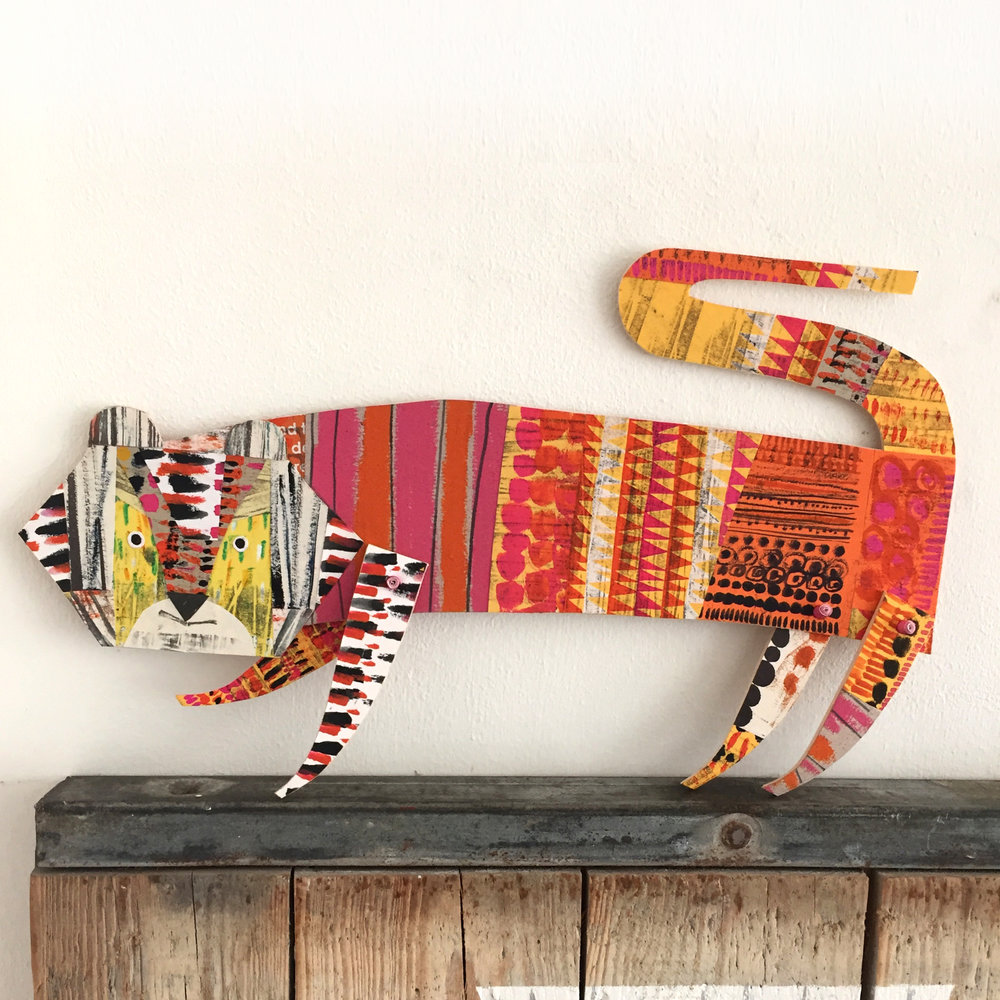 articulated tiger bright      original cut out articulated collage