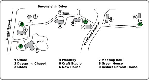 Map of L'Arche Daybreak Property. Dayspring Chapel is #2