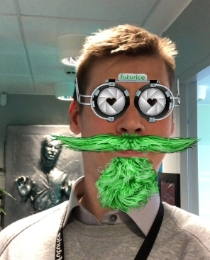 Futu beard and glasses  - We did our very own Futurice Facebook filter. Try it out with your phone from this link: