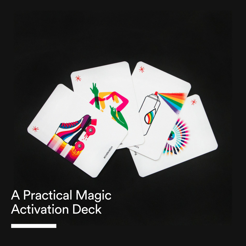 A Practical Magic Activation Deck - A toolkit of Practical Magic Activation cards uniquely designed and illustrated. This comes in a box with a book packed full of Practical Magic Activation exercises.