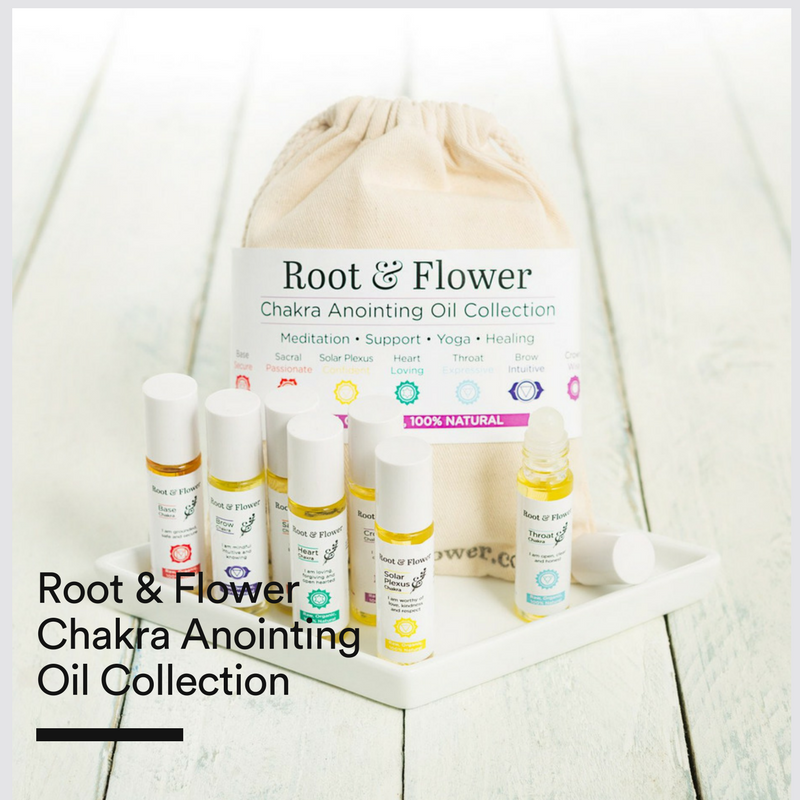 Root & Flower Chakra Anointing  Oil Collection - Root and Flower Chakra Anointing Oil Set is a collection of seven unique essential oil blends. Each blend interacts with and supports the stored emotions of a specific chakra centre to help activate and awaken the information stored within.Find out more about Root & Flower.