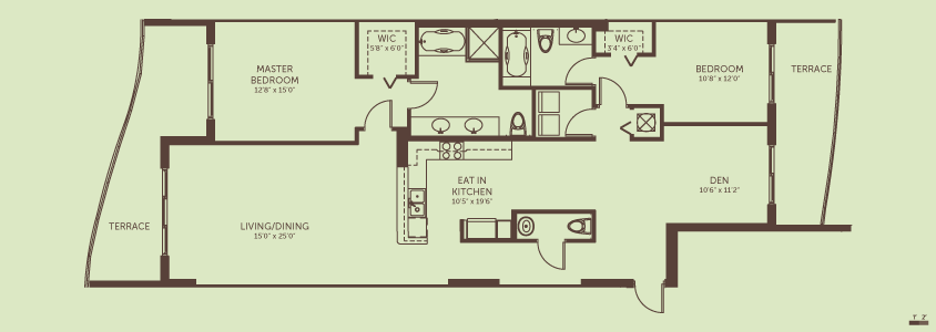 2 Bedrooms + Den / 2.5 Baths    Living / Dining Room:  15.0′ x 25.0′  Den:  10.6′ x 11.2′  Eat In Kitchen:  10.5′ x 19.6′  Master Bedroom:  12.8′ x 15.0′  Bedroom 2:   10.8′ x 12.0′  Total Living Space:  1,711 square feet