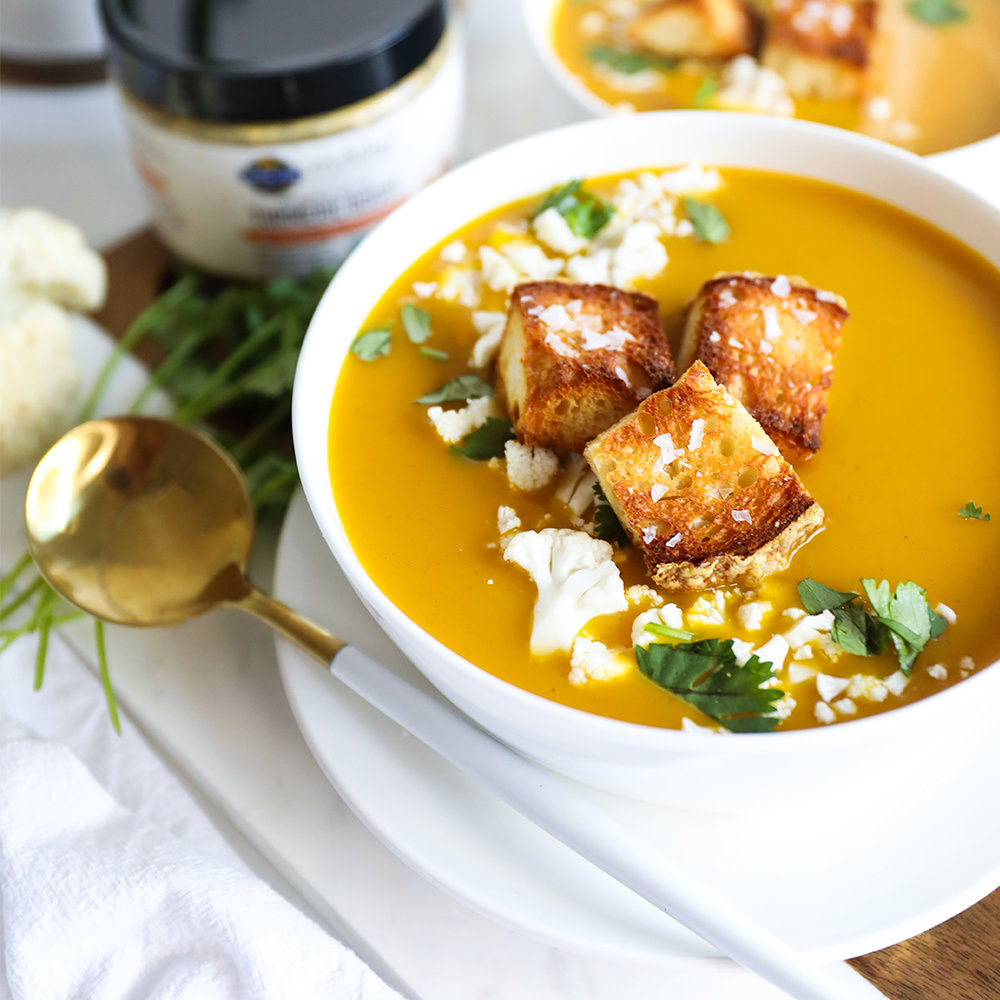 Autumn Cauliflower Tumeric Soup by Garden of Life