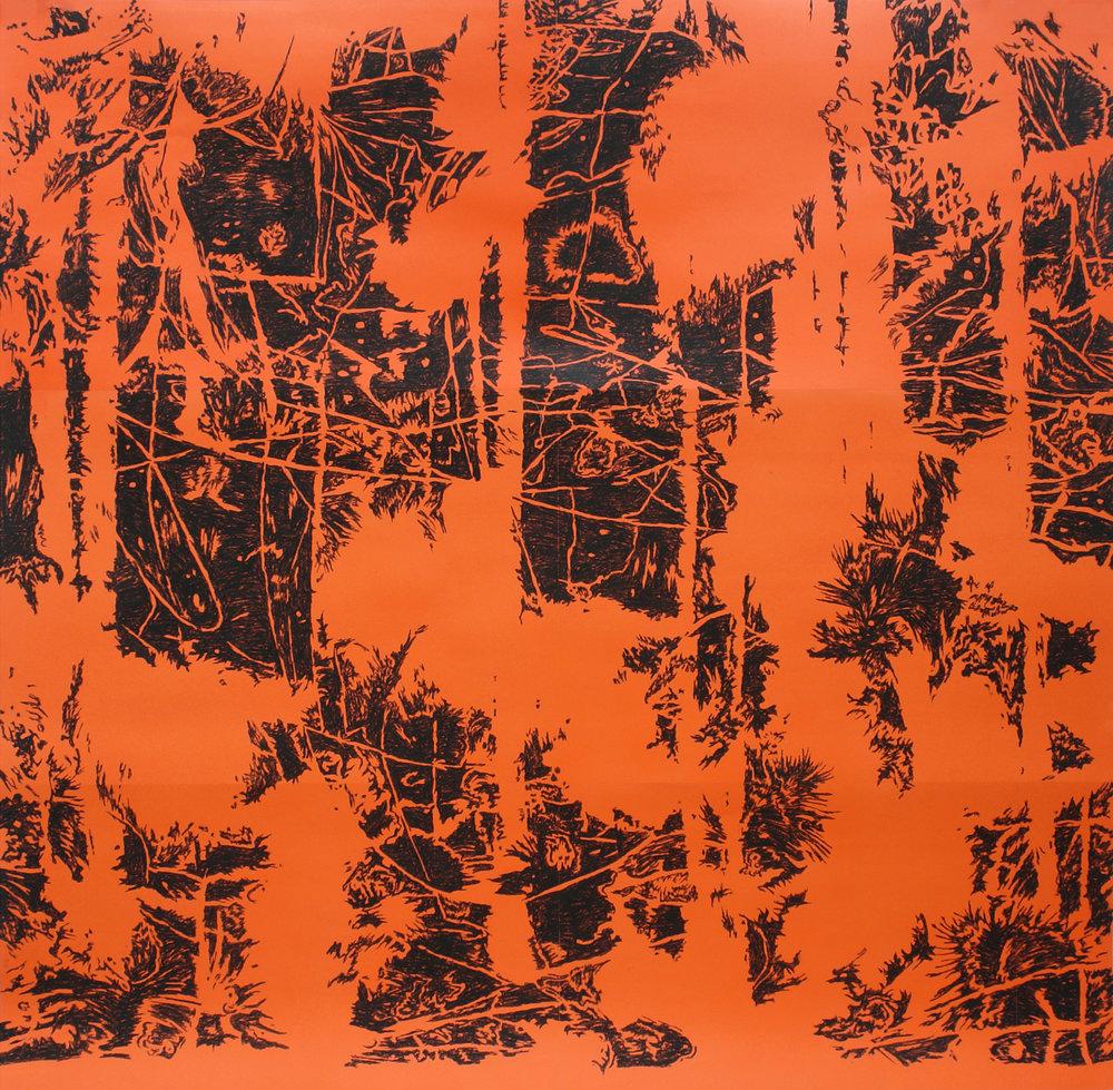 o.T. (Wald) , Kohle auf Papier,200cm x 210cm, 2007
