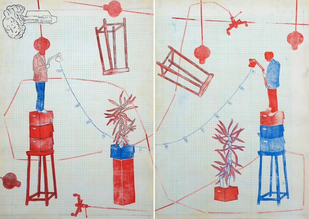 Passerelle I  - Linoldruck und Zeichnung auf Papier, 100cm x 140cm, 2018