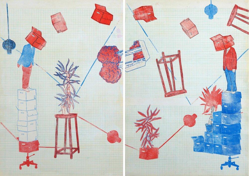 Passerelle II  - Linoldruck und Zeichnung auf Papier, 100cm x 140cm, 2018