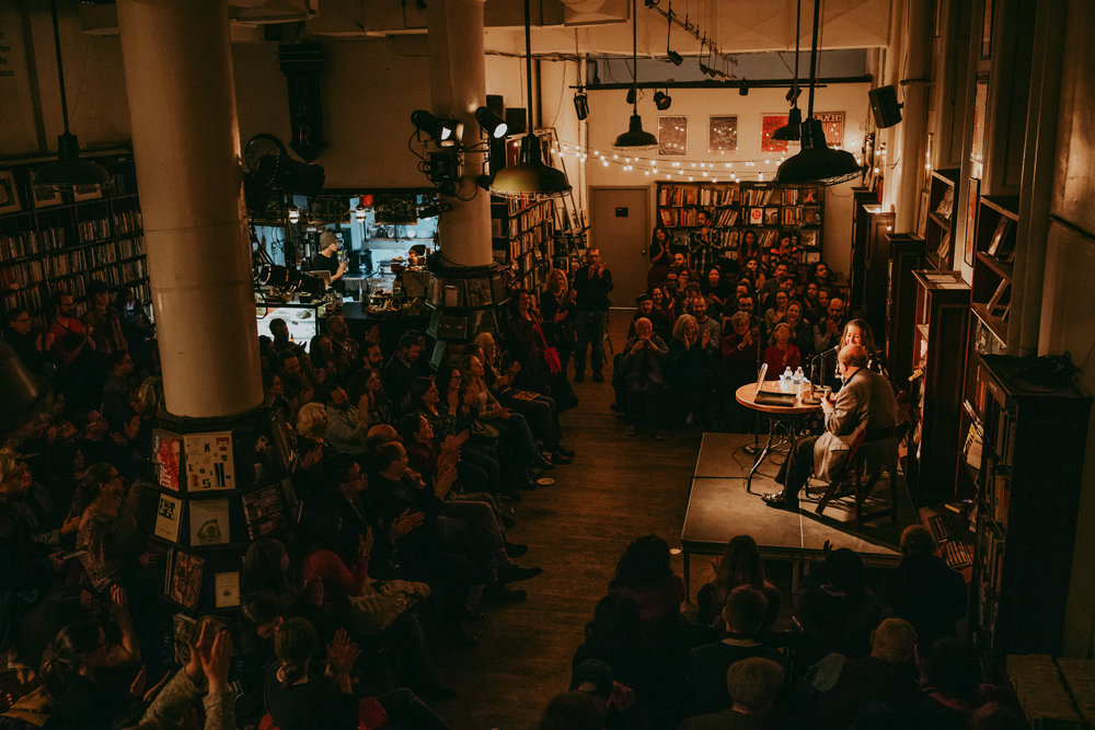 The Falconer  Book Launch on January 29, 2019 with Salman Rushdie at Housing Works Bookstore and Cafe, photo by Sylvie Rosokoff