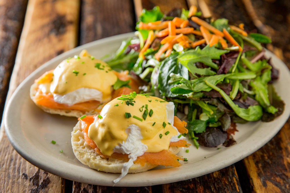 Eggs Benedict with a Side Salad