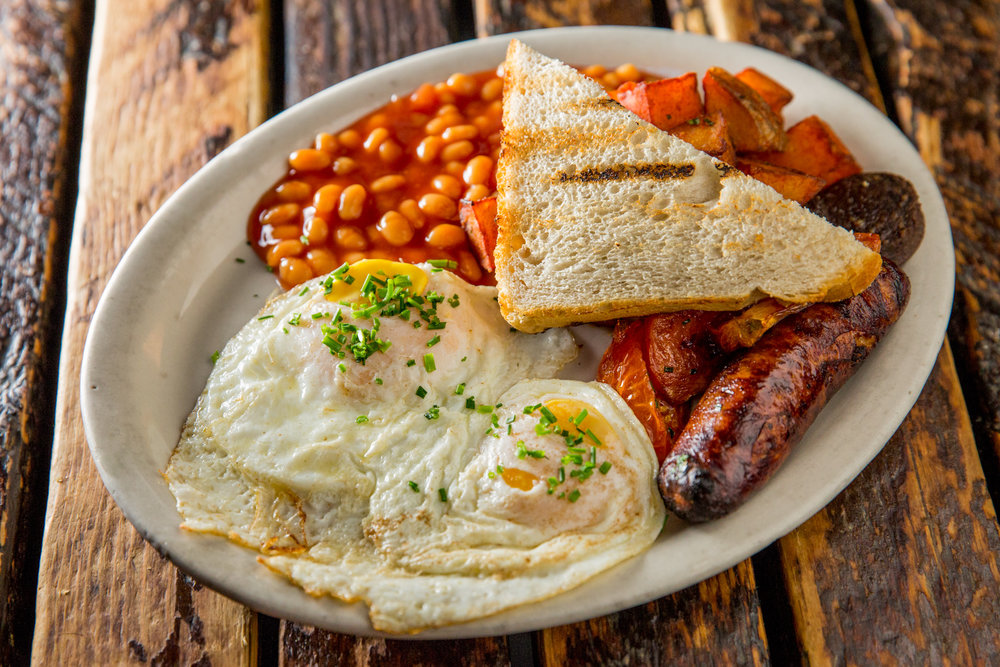 Two Eggs, Sausage. Baked Beans and Toast