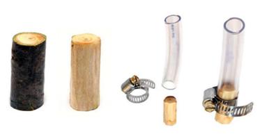 Bestandteile des Splintholzfilters für Trinkwasseraufbereitung