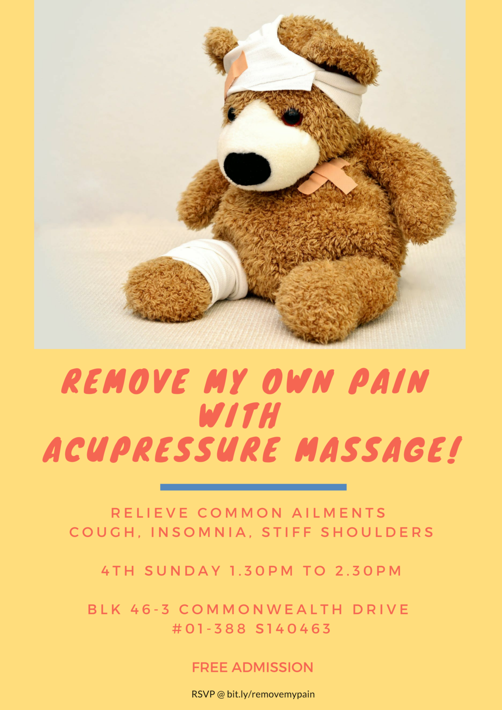 Remove My Own Pain with Acupressure Massage!   - 24 Feb 201924 Mar 2019Free AdmissionRegister at bit.ly/removemypain