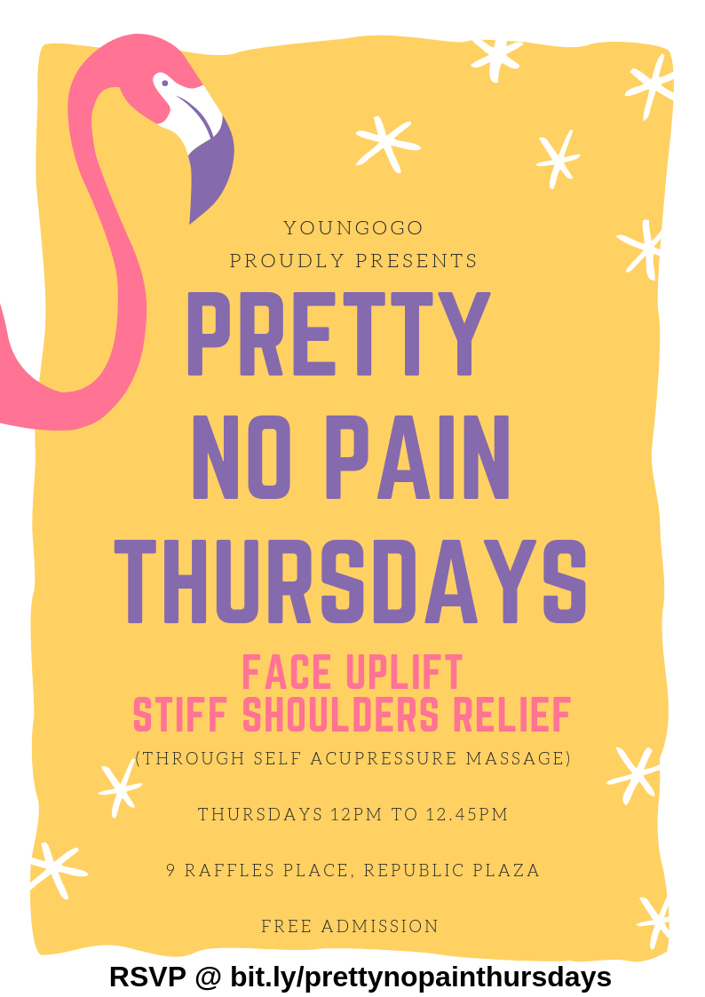 Pretty No Pain Thursdays - Experience Instant Facelift & Stiff Shoulders Relief!28 Feb 20197 Mar 201914 Mar 2019Free AdmissionCheck out photos at bit.ly/prettynopainthursphotosRegister at bit.ly/prettynopainthursdays