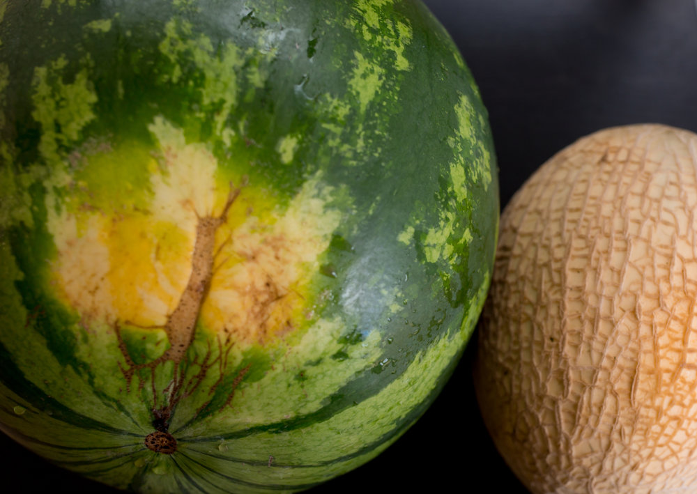 When buying, pick watermelon that have a creamy yellow spot and cantaloupe with raised netting on its skin.