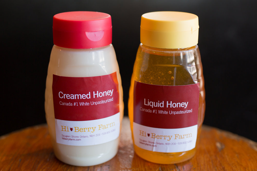 Liquid and Creamed - Honey is harvested in its pure, liquid state and is whipped to create the crystals of smooth, spreadable creamed honey.
